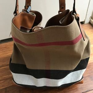 SOLD*Burberry Exploded Check' Canvas Tote